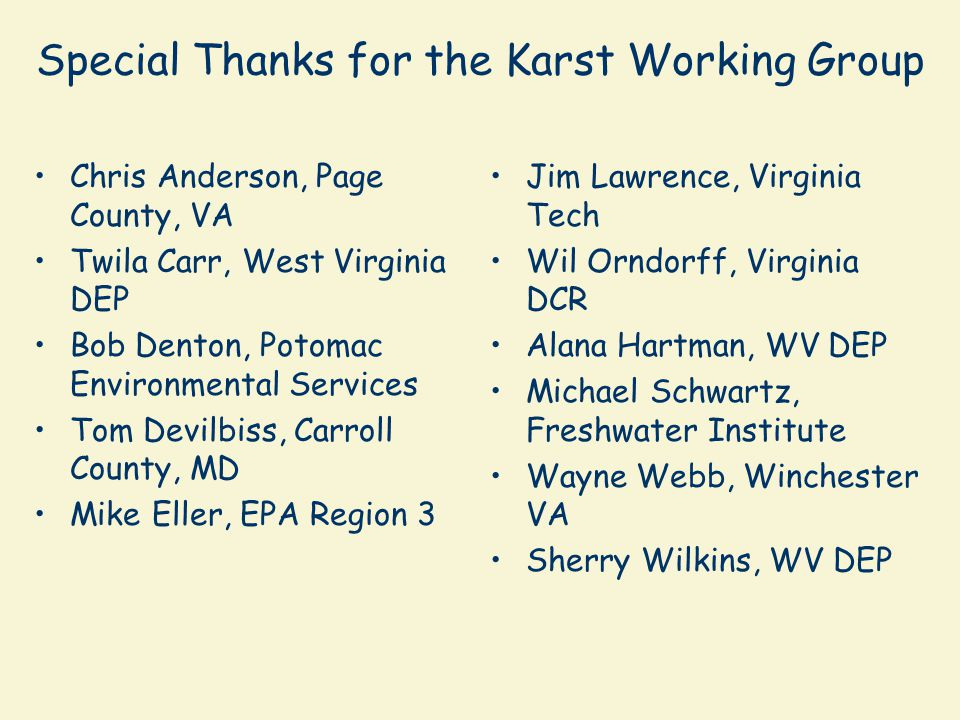 Special Thanks for the Karst Working Group