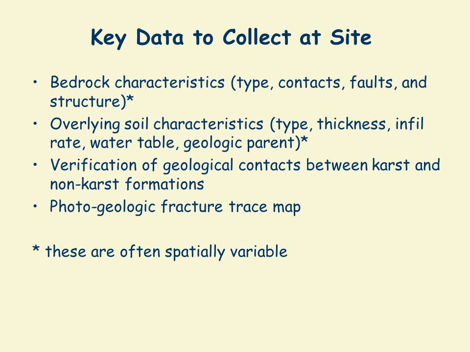 Key Data to Collect at Site