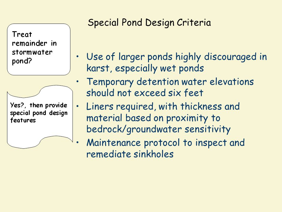 Stormwater design adaptations for karst terrain in the for Design criteria of oxidation pond