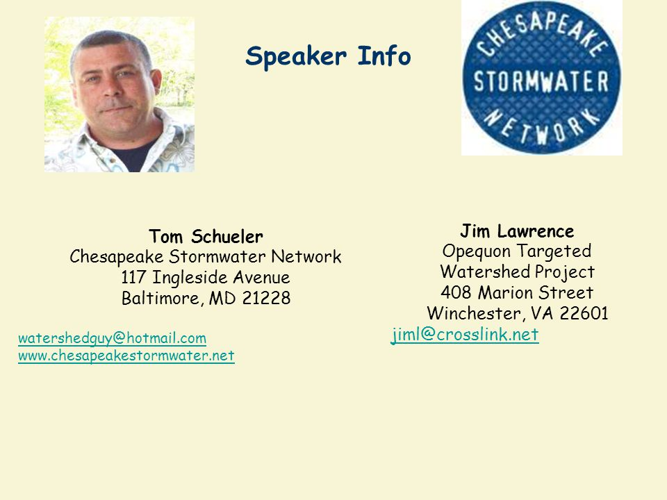 Chesapeake Stormwater Network 117 Ingleside Avenue Baltimore, MD 21228