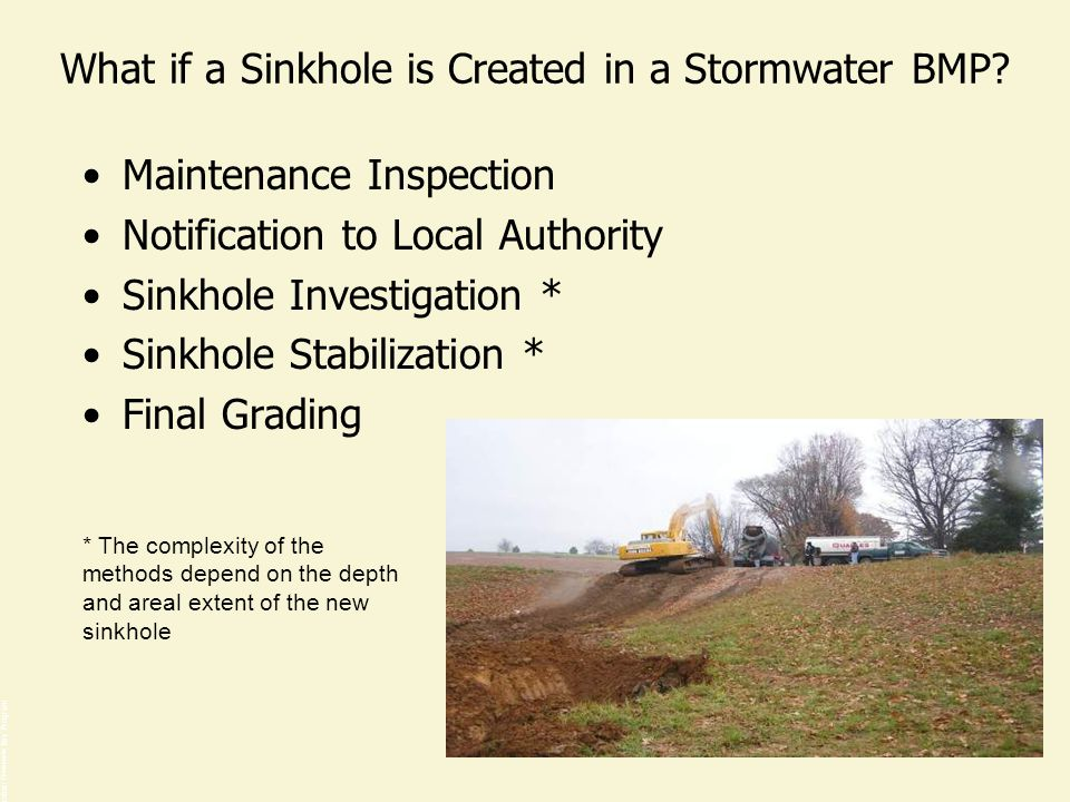 What if a Sinkhole is Created in a Stormwater BMP