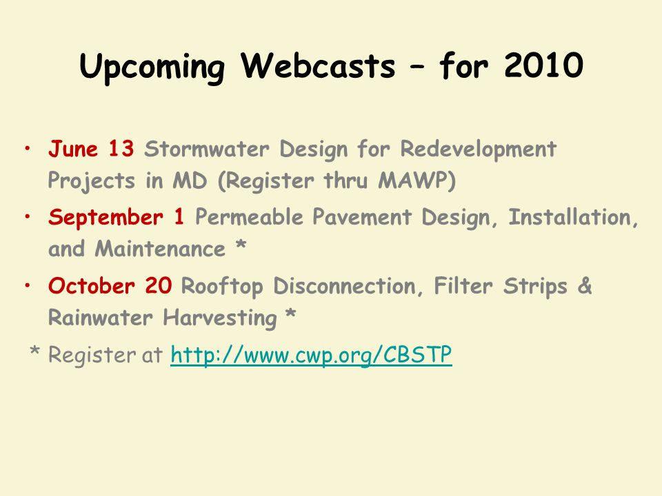 Upcoming Webcasts – for 2010