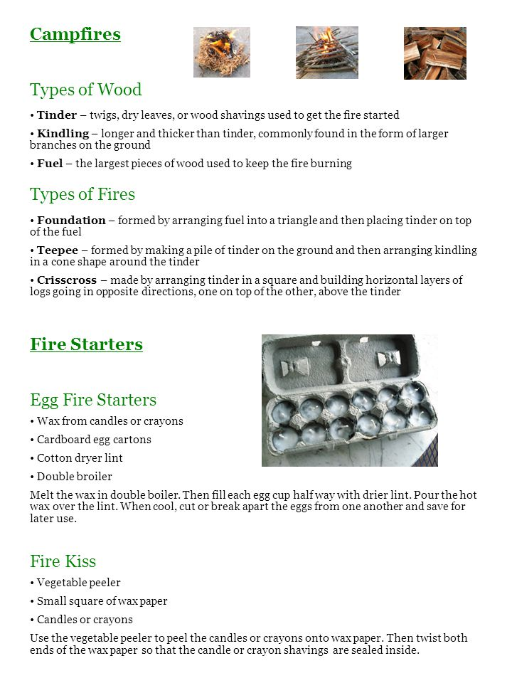 Campfires Types of Wood Types of Fires Fire Starters Egg Fire Starters