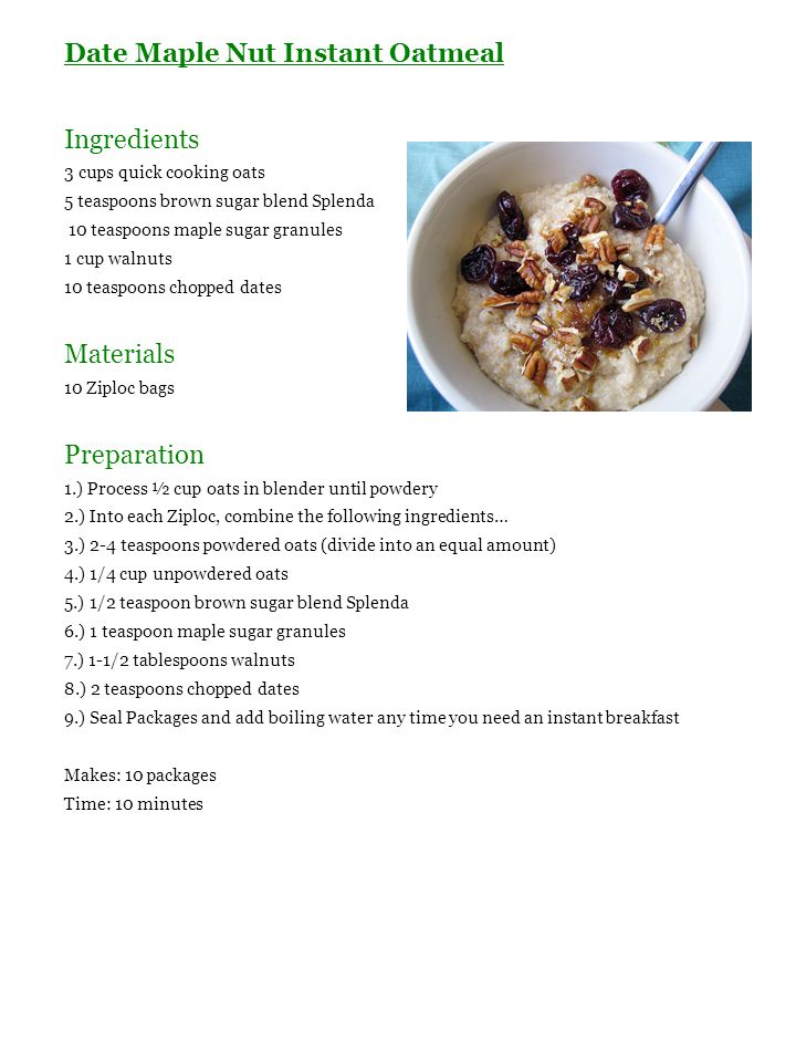 Date Maple Nut Instant Oatmeal Ingredients