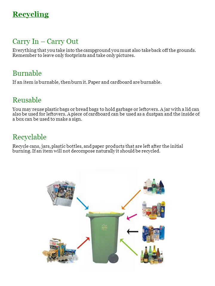 Recycling Carry In – Carry Out Burnable Reusable Recyclable