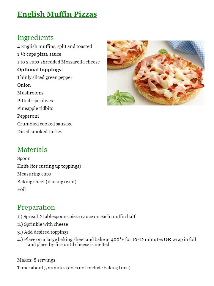 English Muffin Pizzas Ingredients Materials Preparation