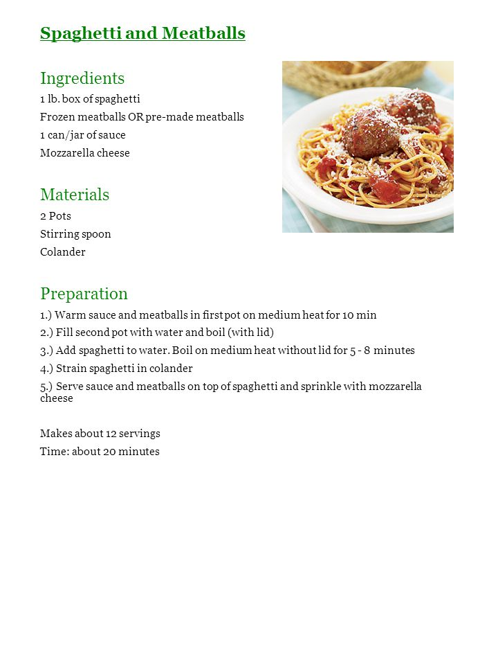 Spaghetti and Meatballs Ingredients