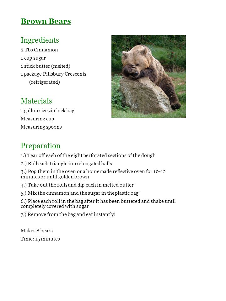 Brown Bears Ingredients Materials Preparation 2 Tbs Cinnamon