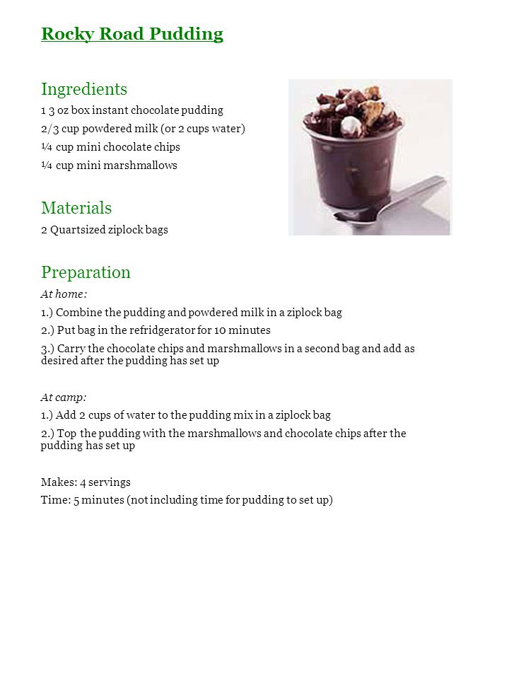 Rocky Road Pudding Ingredients Materials Preparation