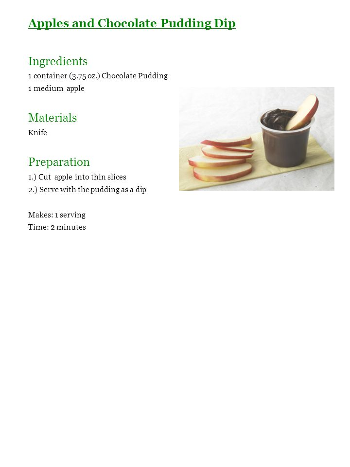 Apples and Chocolate Pudding Dip Ingredients