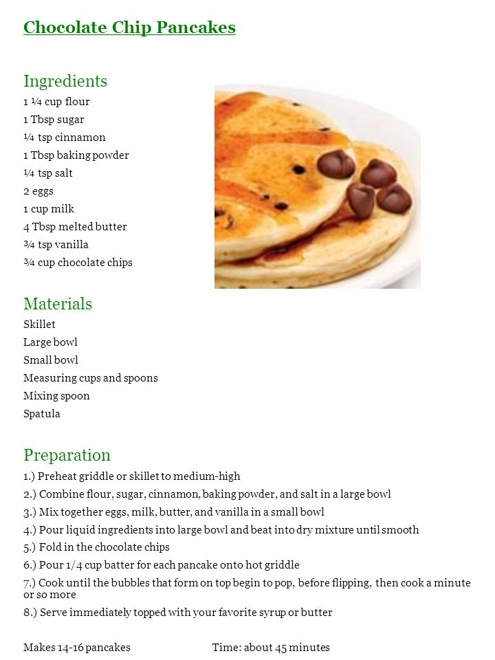 Chocolate Chip Pancakes Ingredients