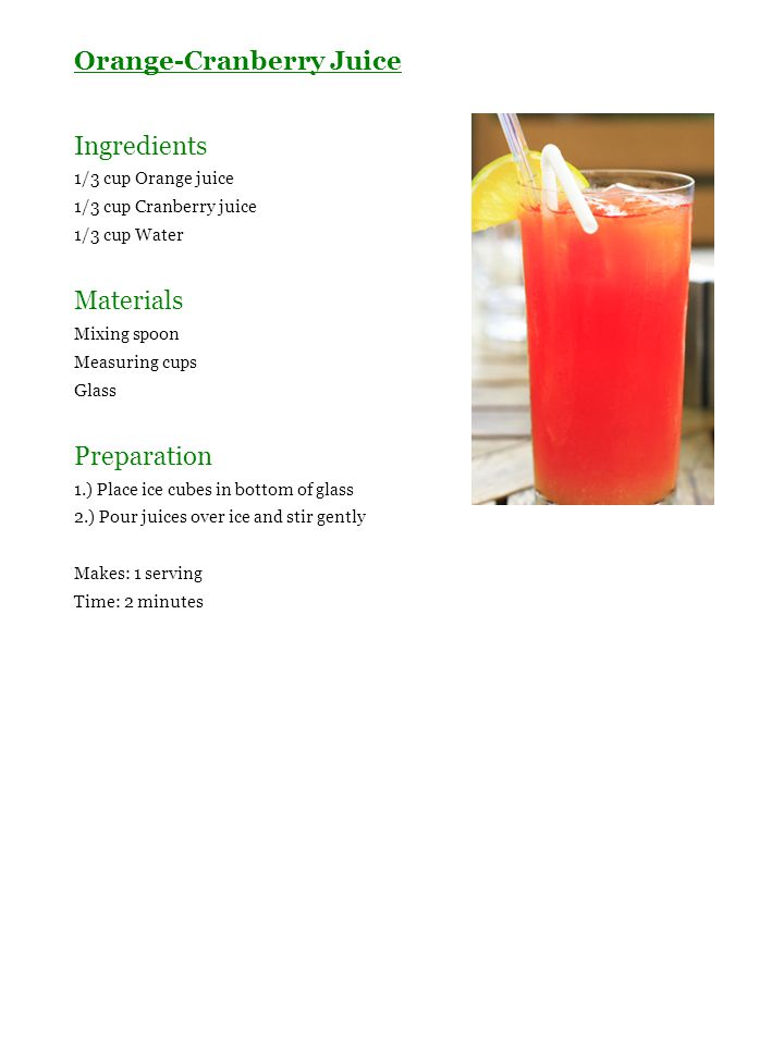 Orange-Cranberry Juice Ingredients