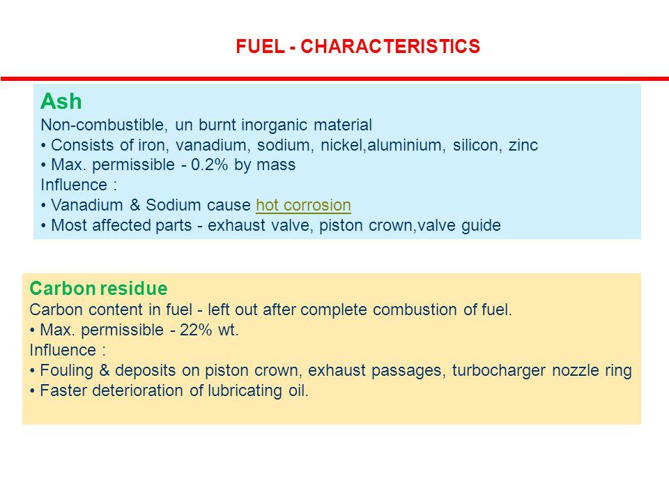 Ash FUEL - CHARACTERISTICS Carbon residue