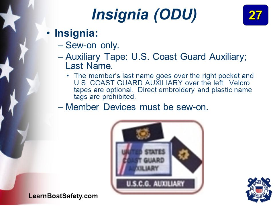 Insignia (ODU) 27 Insignia: Sew-on only.