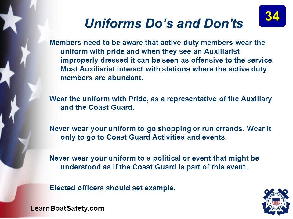 Uniforms Do's and Don ts