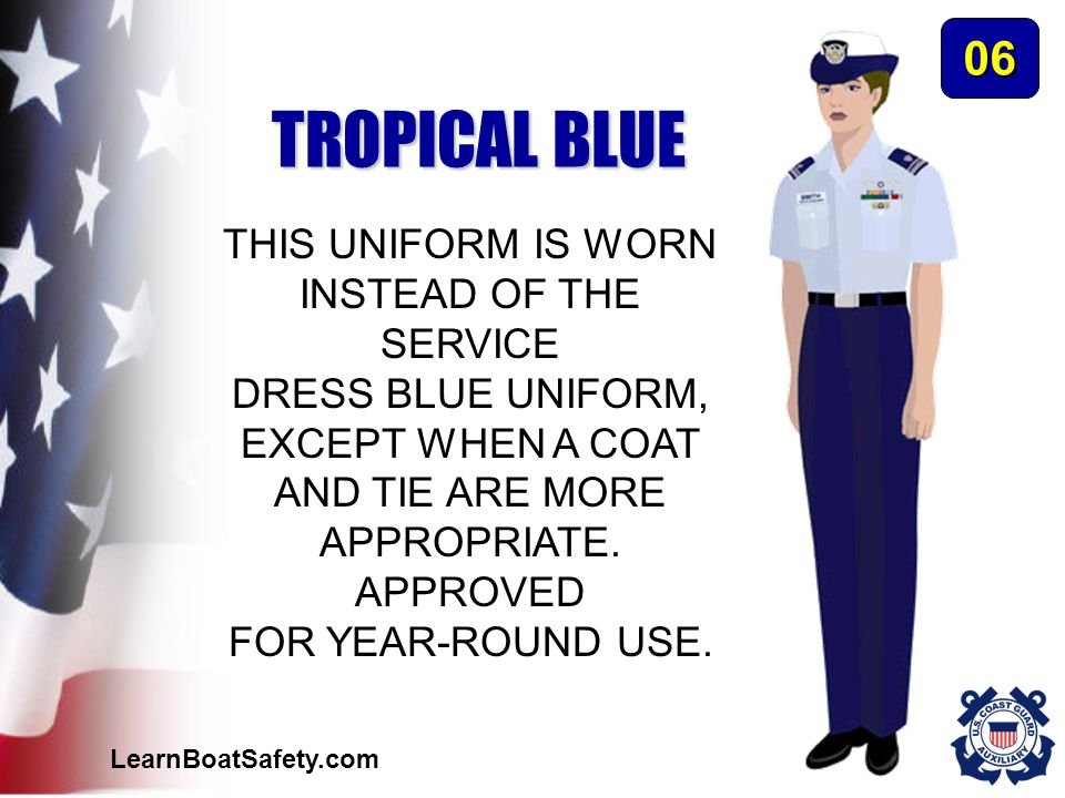 TROPICAL BLUE 06 THIS UNIFORM IS WORN INSTEAD OF THE SERVICE