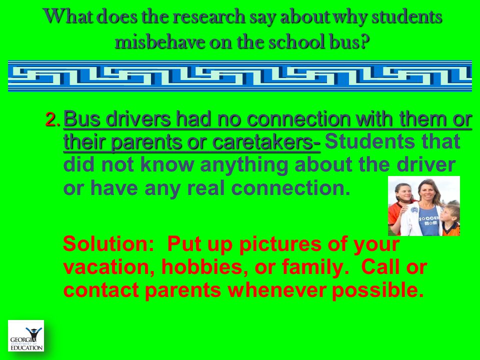 What does the research say about why students misbehave on the school bus