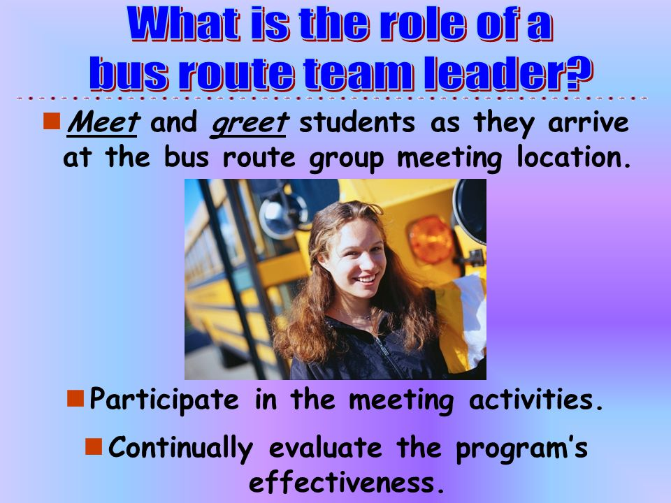 What is the role of a bus route team leader