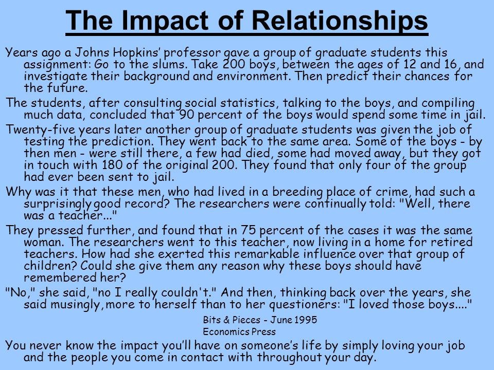 The Impact of Relationships