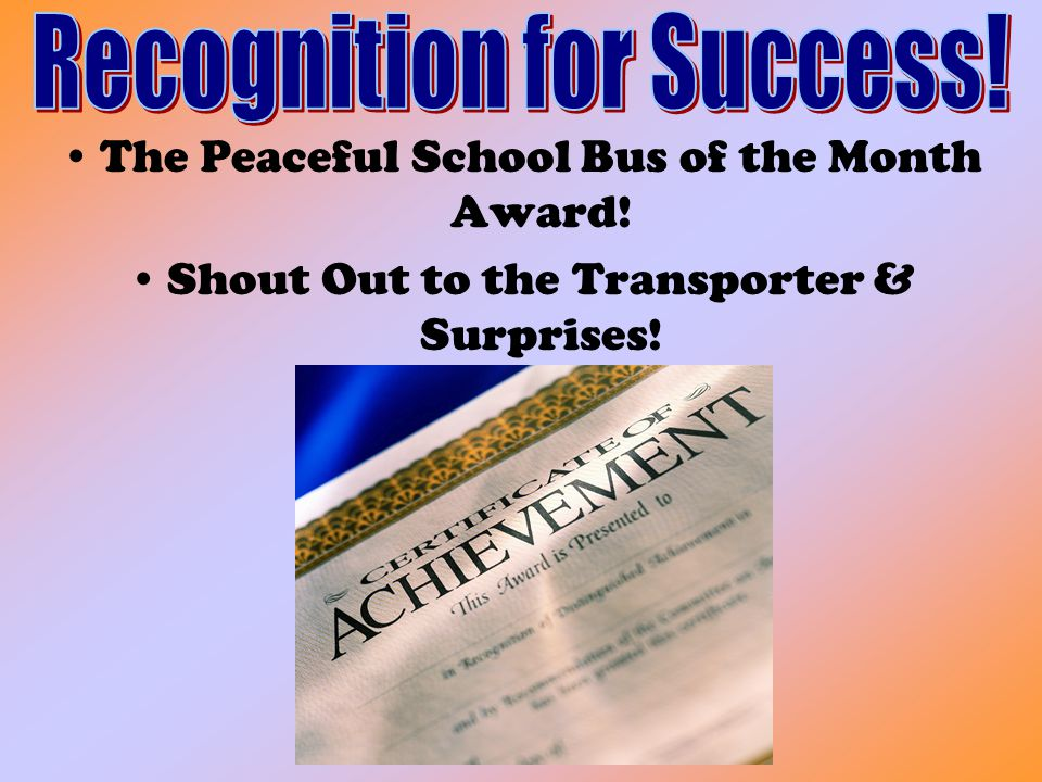 Recognition for Success!