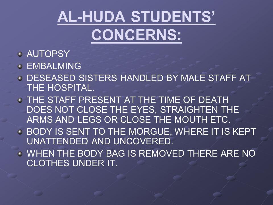AL-HUDA STUDENTS' CONCERNS: