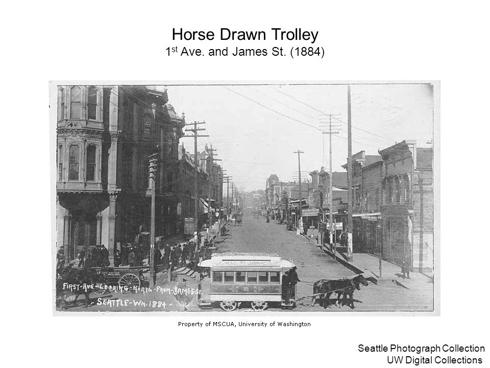 Horse Drawn Trolley 1st Ave. and James St. (1884)