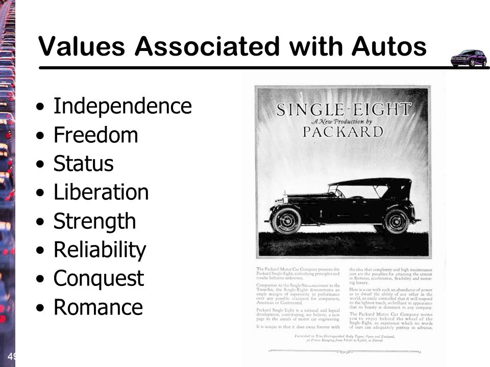 Values Associated with Autos