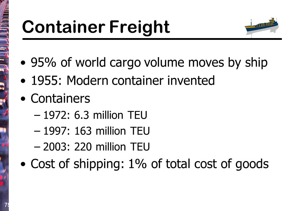 Container Freight 95% of world cargo volume moves by ship