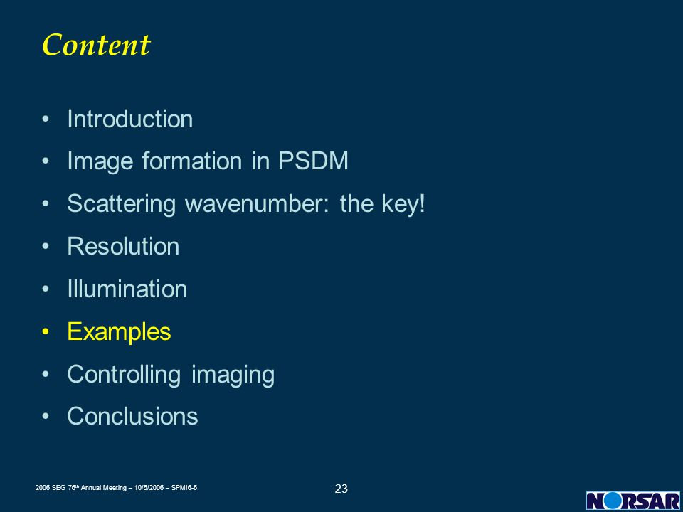Content Introduction Image formation in PSDM