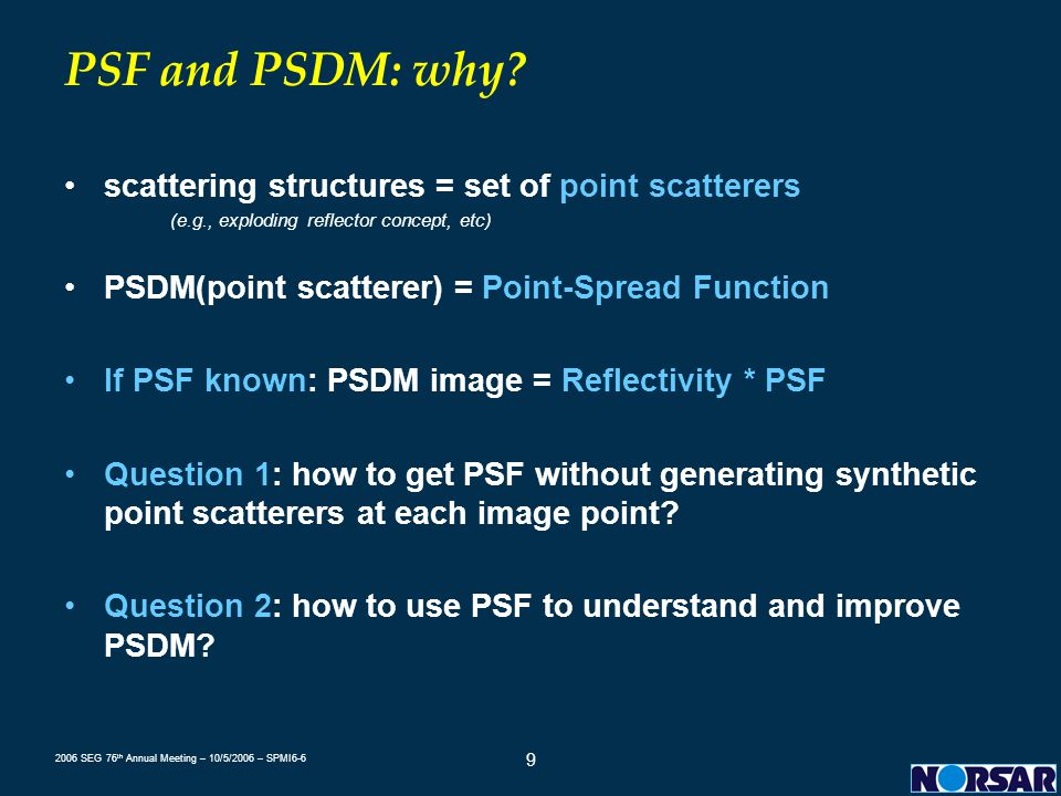 PSF and PSDM: why scattering structures = set of point scatterers