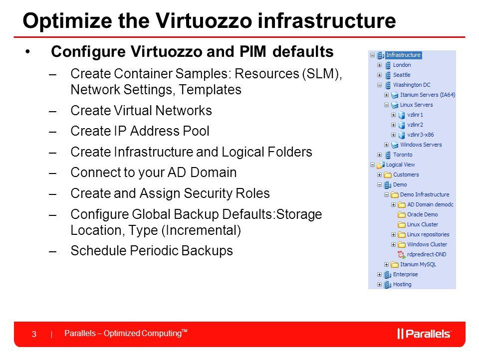 Optimize the Virtuozzo infrastructure