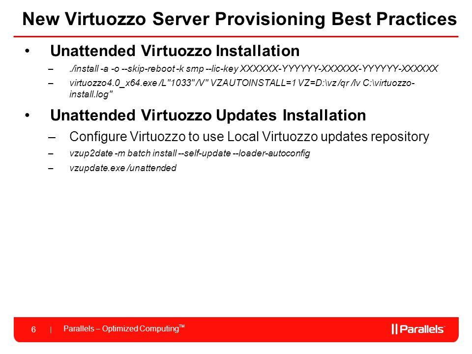 New Virtuozzo Server Provisioning Best Practices