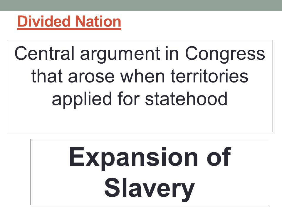 Divided Nation Central argument in Congress that arose when territories applied for statehood.
