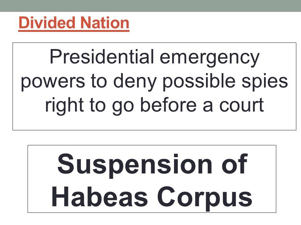 Suspension of Habeas Corpus