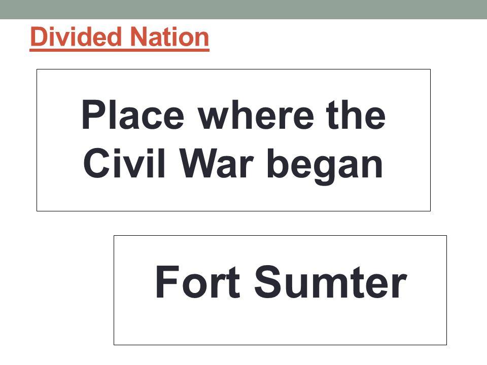 Place where the Civil War began