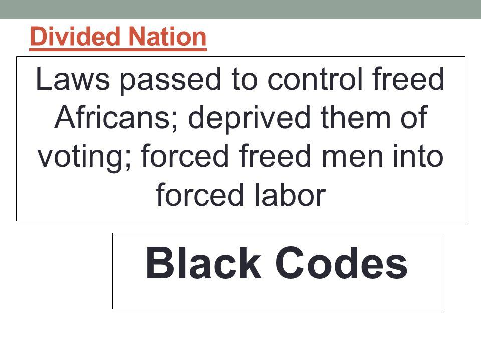 Divided Nation Laws passed to control freed Africans; deprived them of voting; forced freed men into forced labor.
