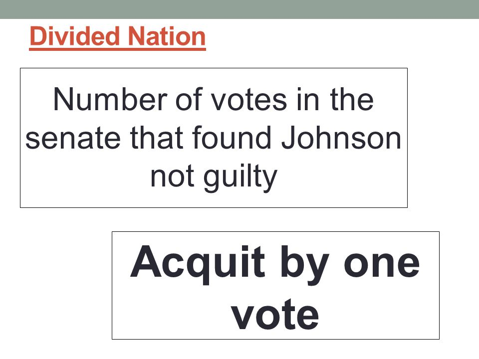 Number of votes in the senate that found Johnson not guilty