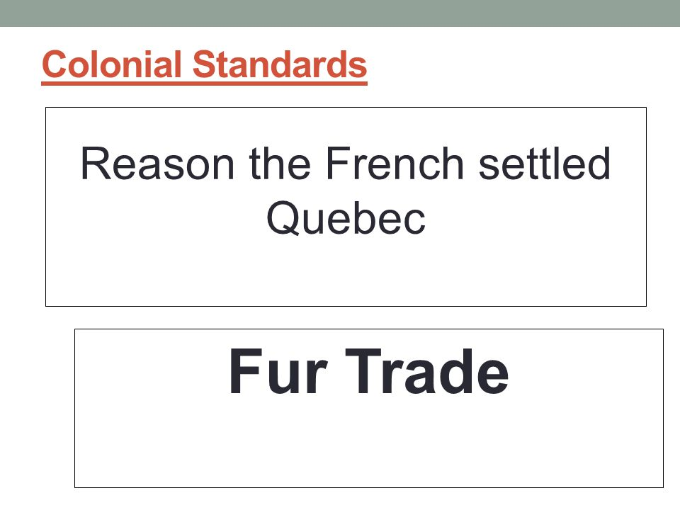 Reason the French settled Quebec