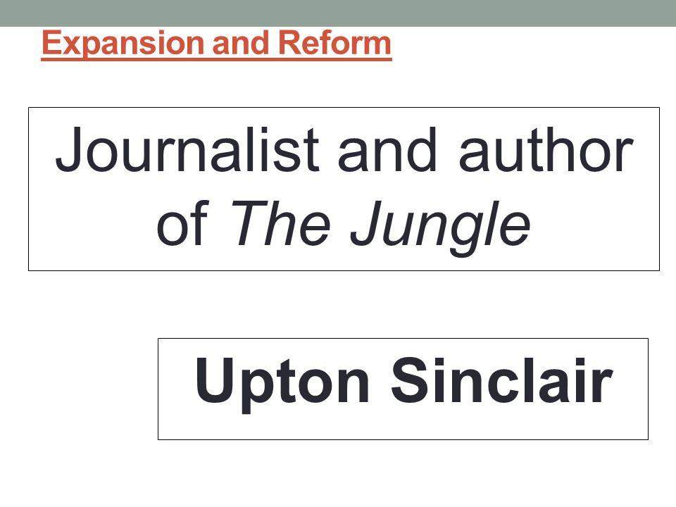 Journalist and author of The Jungle