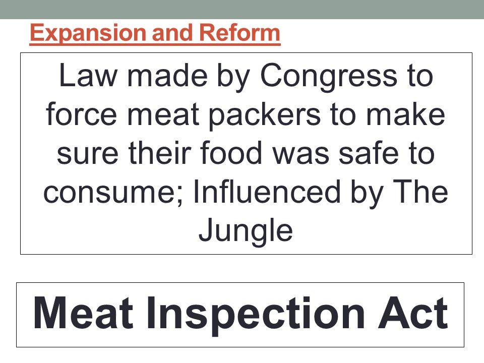 Expansion and Reform Law made by Congress to force meat packers to make sure their food was safe to consume; Influenced by The Jungle.