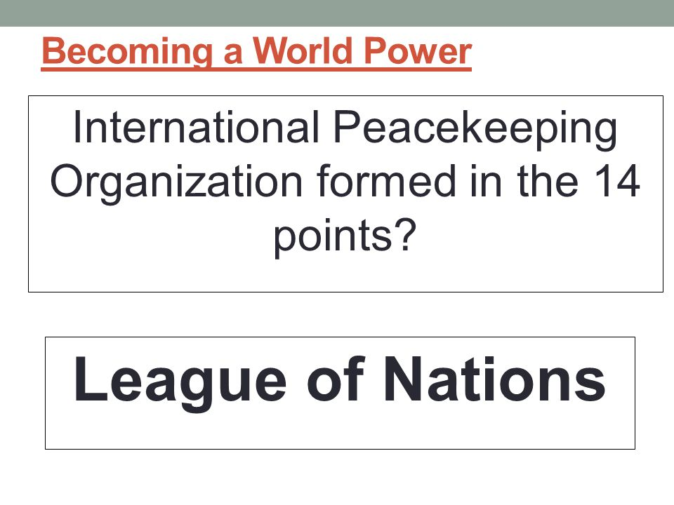 International Peacekeeping Organization formed in the 14 points