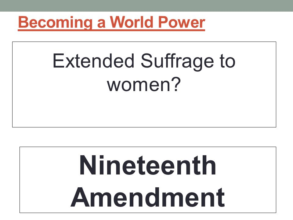 Extended Suffrage to women