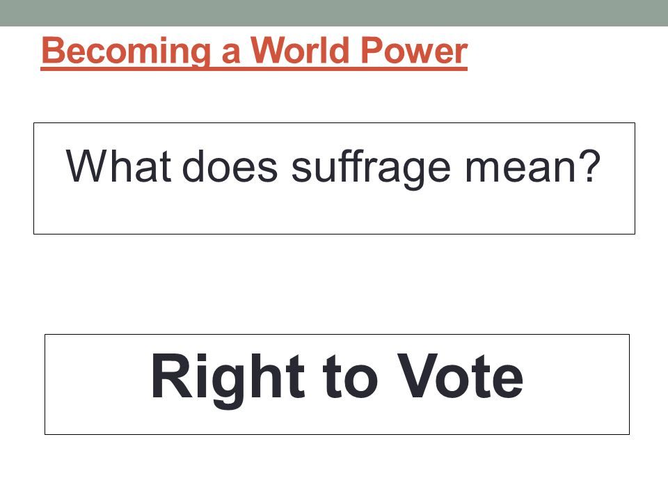 What does suffrage mean