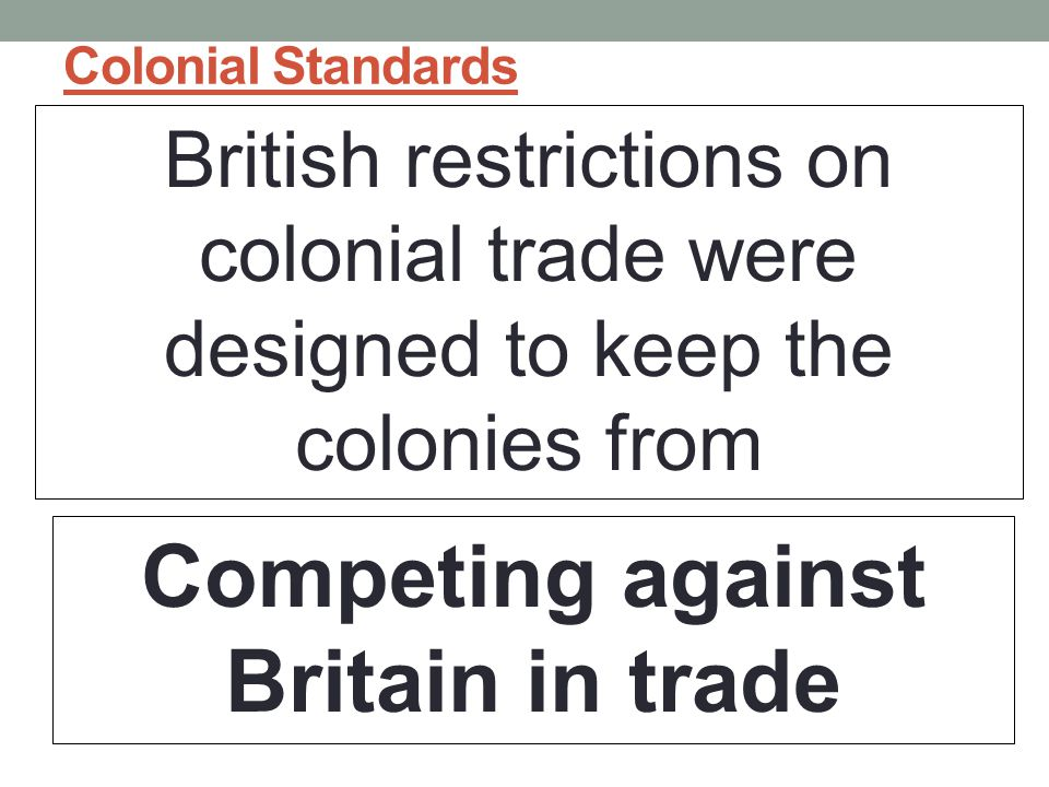 Competing against Britain in trade