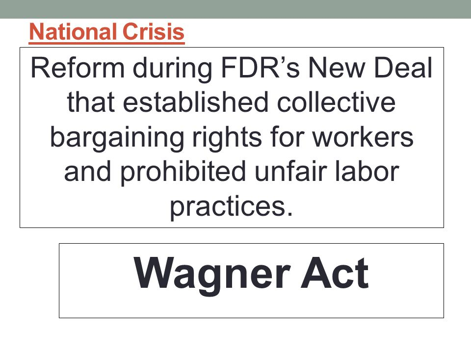 National Crisis Reform during FDR's New Deal that established collective bargaining rights for workers and prohibited unfair labor practices.