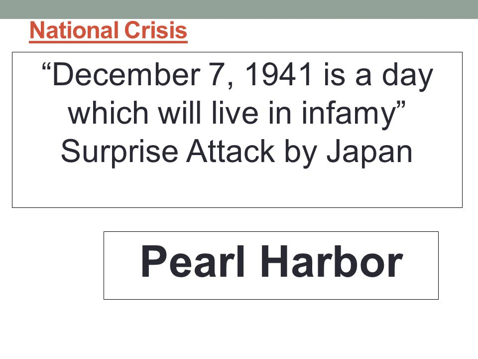 Pearl Harbor December 7, 1941 is a day which will live in infamy