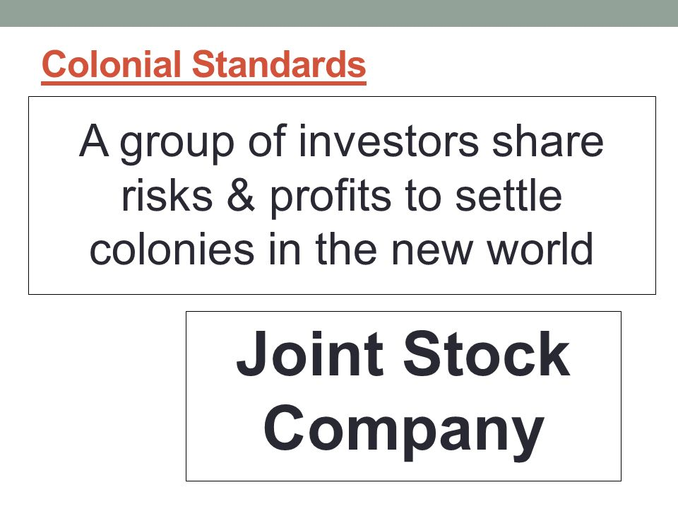 Colonial Standards A group of investors share risks & profits to settle colonies in the new world.