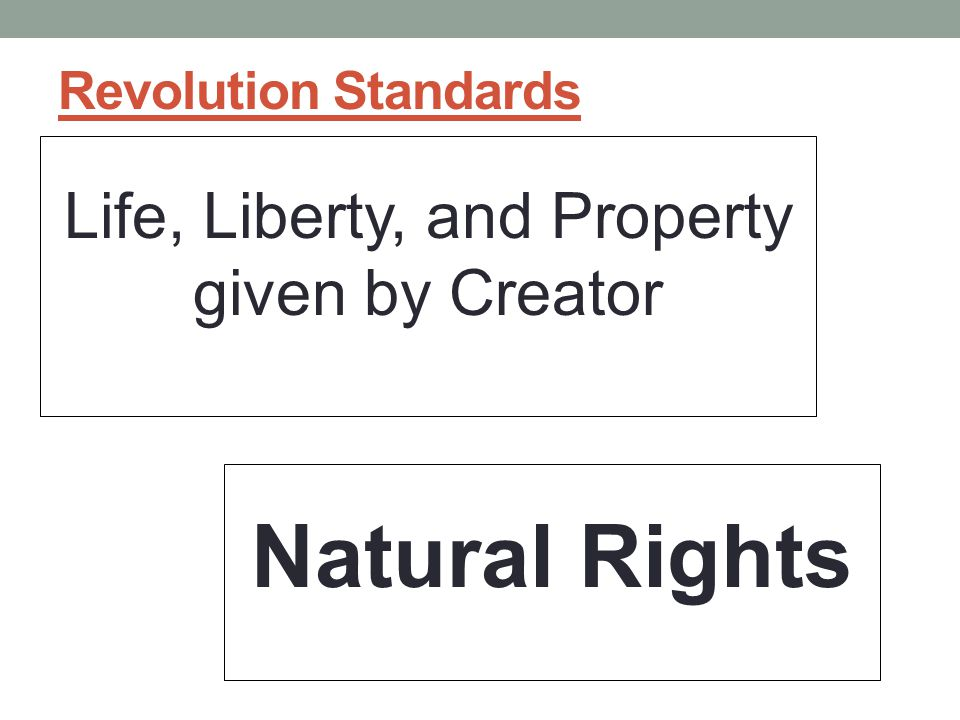 Life, Liberty, and Property given by Creator