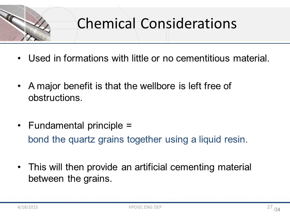 Chemical Considerations