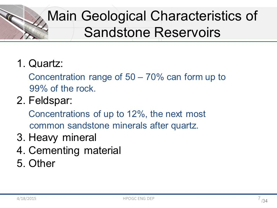 Main Geological Characteristics of Sandstone Reservoirs